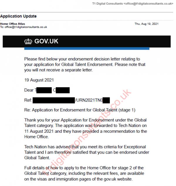 Approval Global Talent UK visa 19 Aug